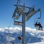 Zimná krajina v lyžiarskom stredisku Stubai